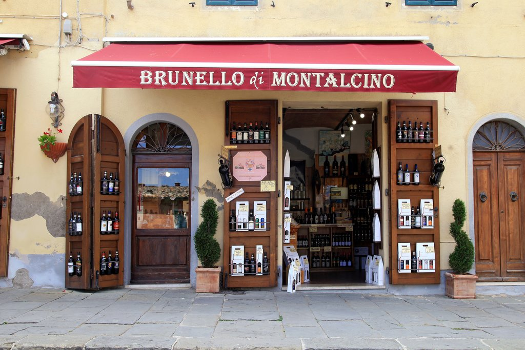 Shopfront selling Brunello di Montalcino