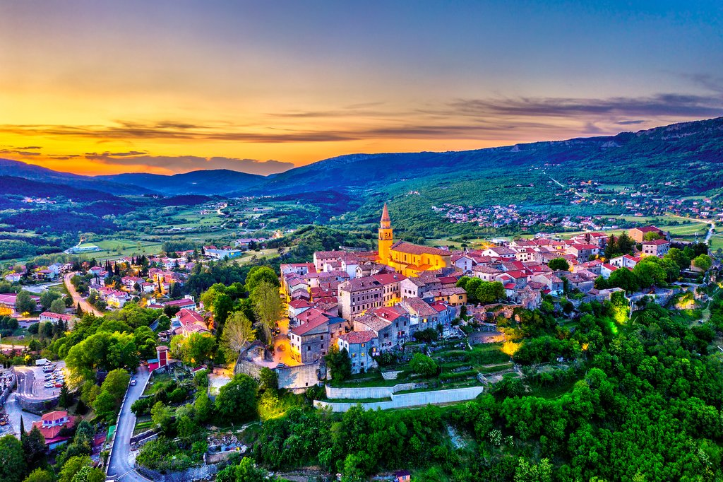 Buzet at sunset