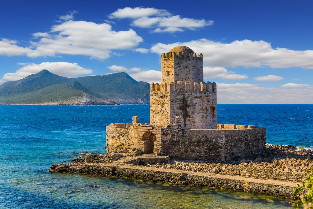 A stone watchtower in the Peloponnese