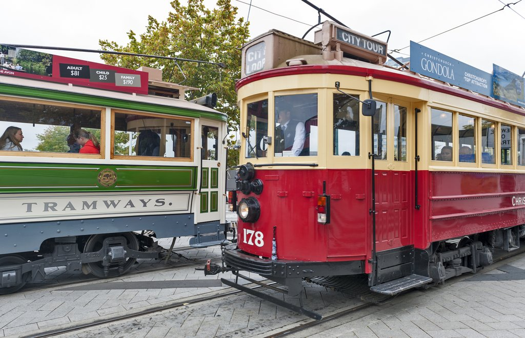 Vintage style trans on the Christchurch Tramway