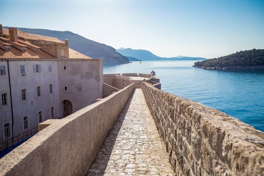 Old city walls and the Adriatic