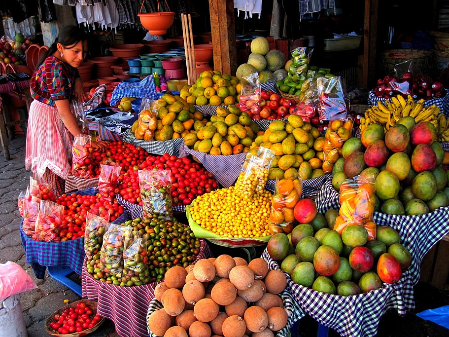 Fruit stand in Antigua's main market