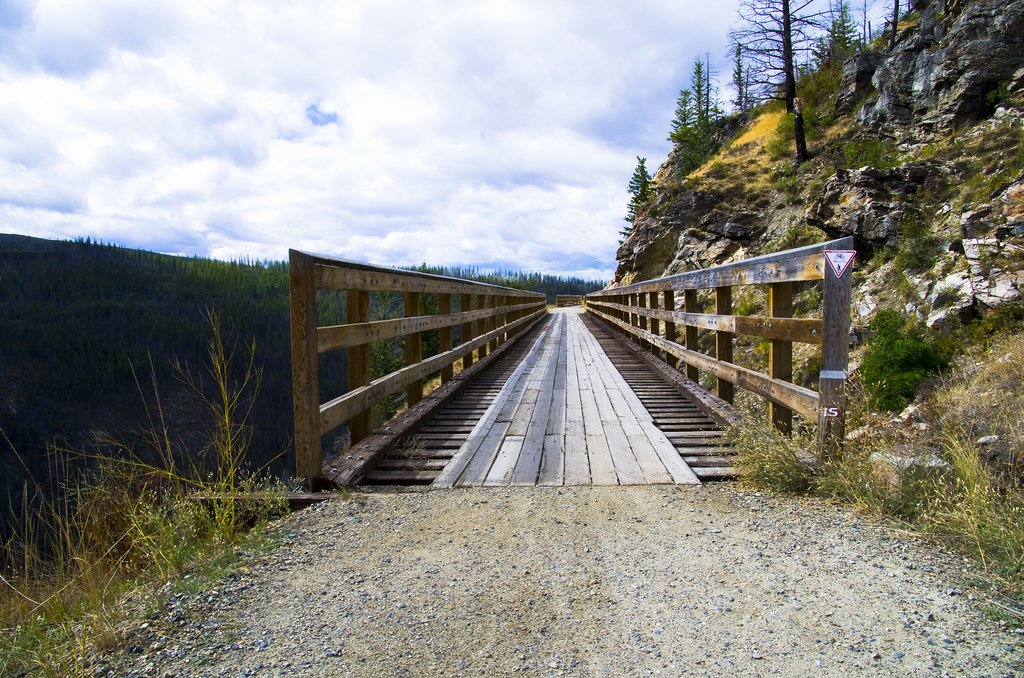 A historic trestle bridge over the Myra Canyon, part of the Kettle Valley Rail Trail