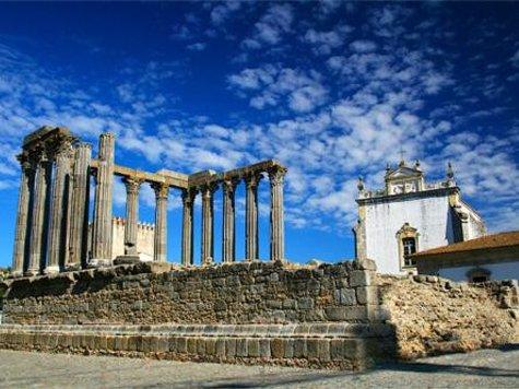 The Roman Temple of Évora, also known as the Templo de Diana