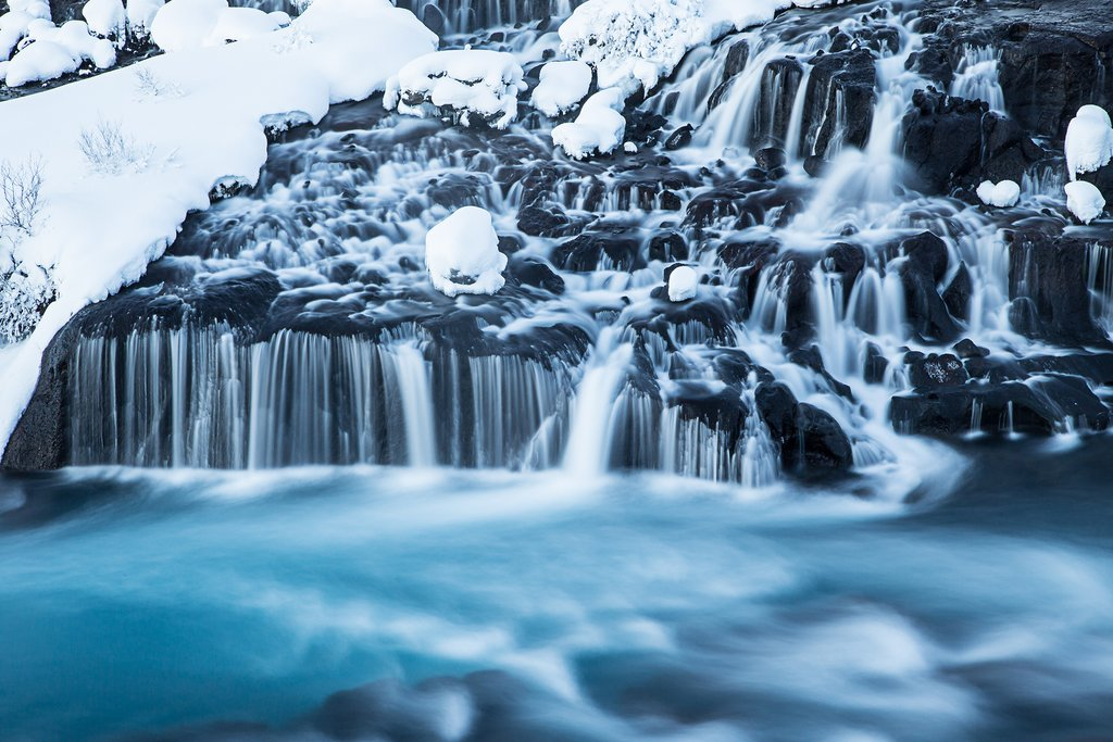 Hraunfossar in the wintertime