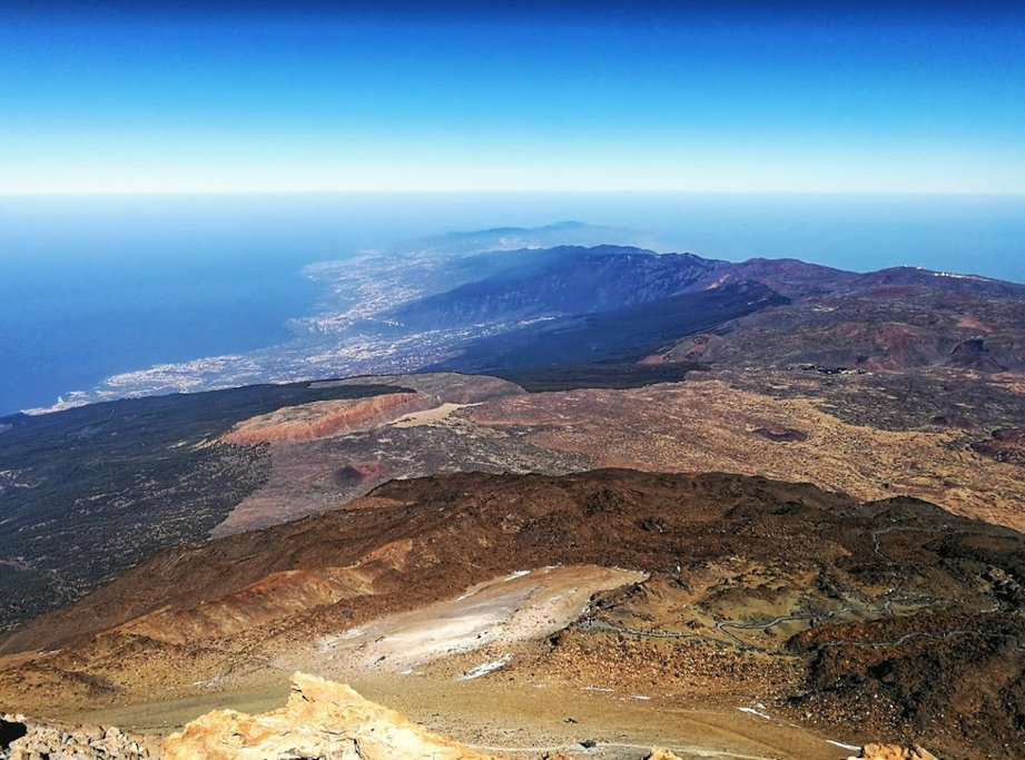 Views across Tenerife from the summit of Mount Teide.