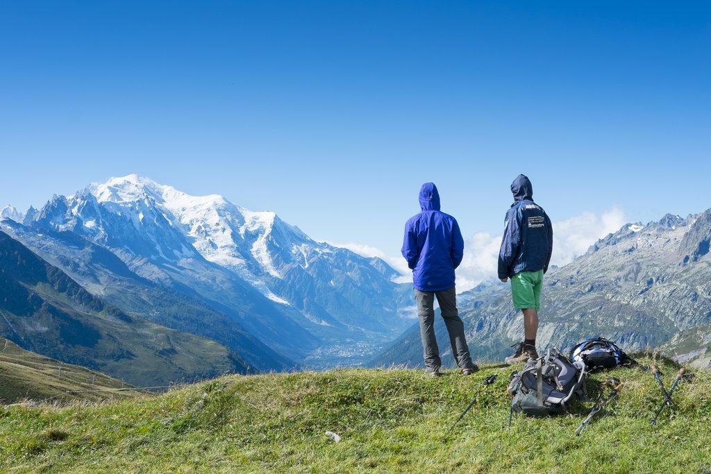 Hikers enjoying the view at Col de Balme
