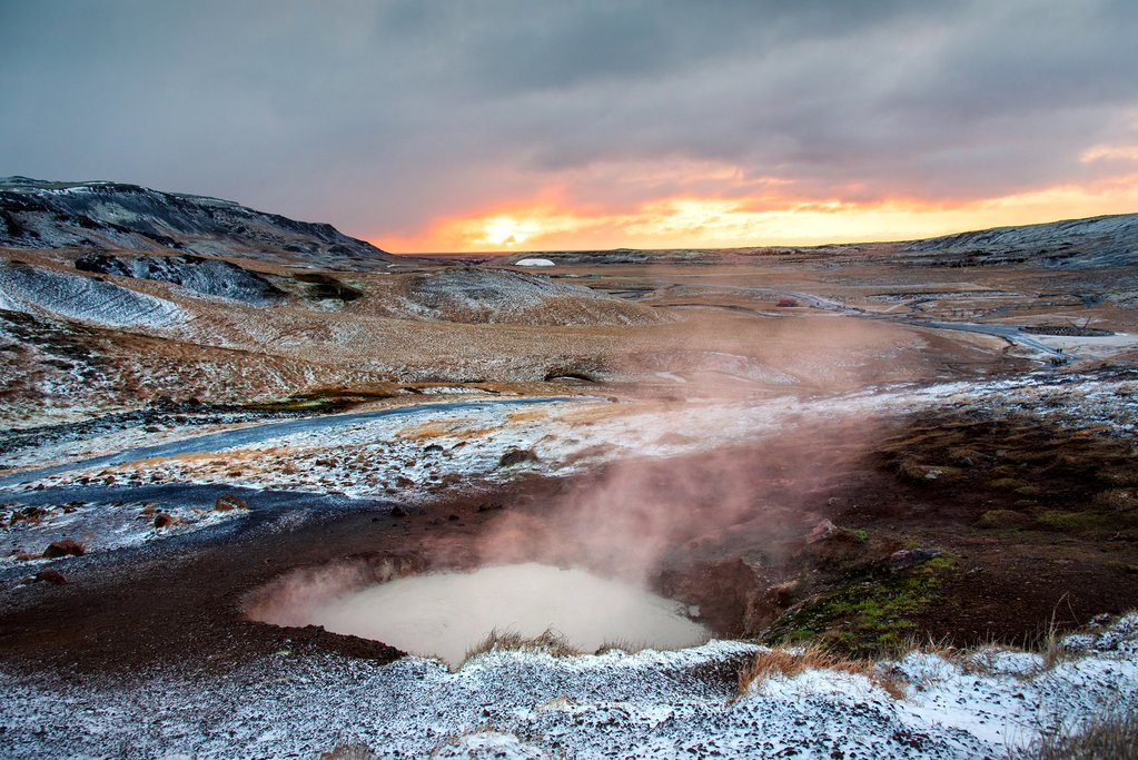 Sunrise at Reykjadalur hot spring river