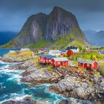 Red fishing houses in the Lofoten Islands