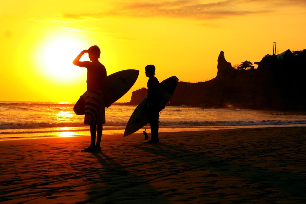 Surfers in Montañita