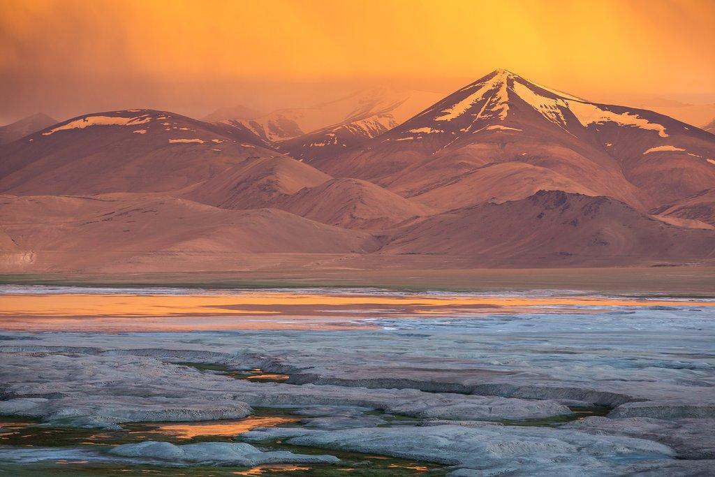 Sunset overlooking Tsokar Lake