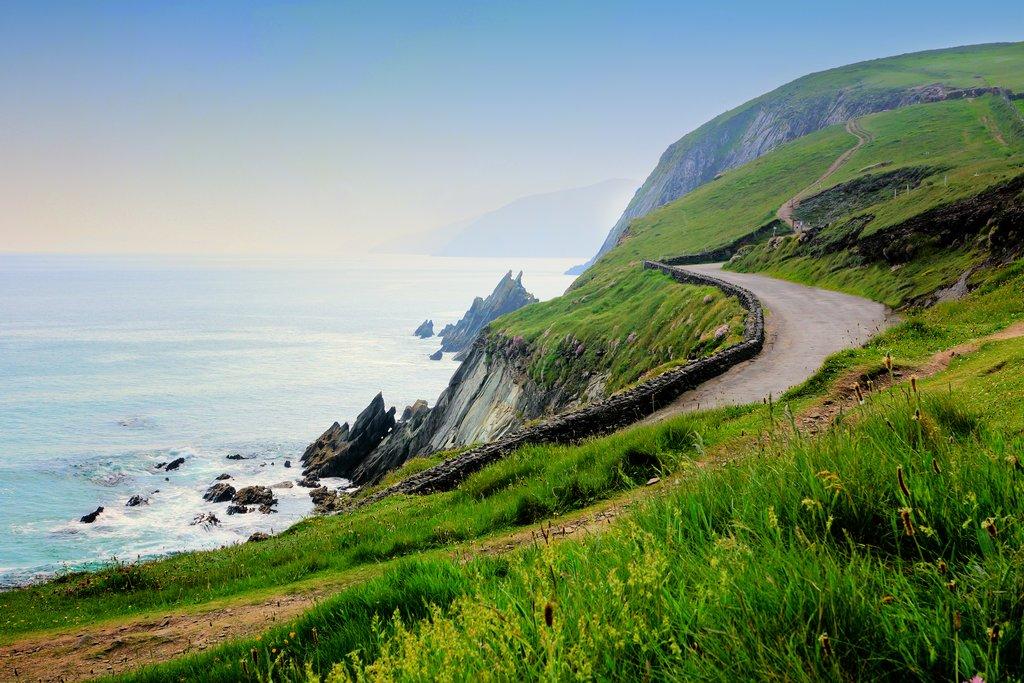 A scenic coastal road on the Dingle Peninsula