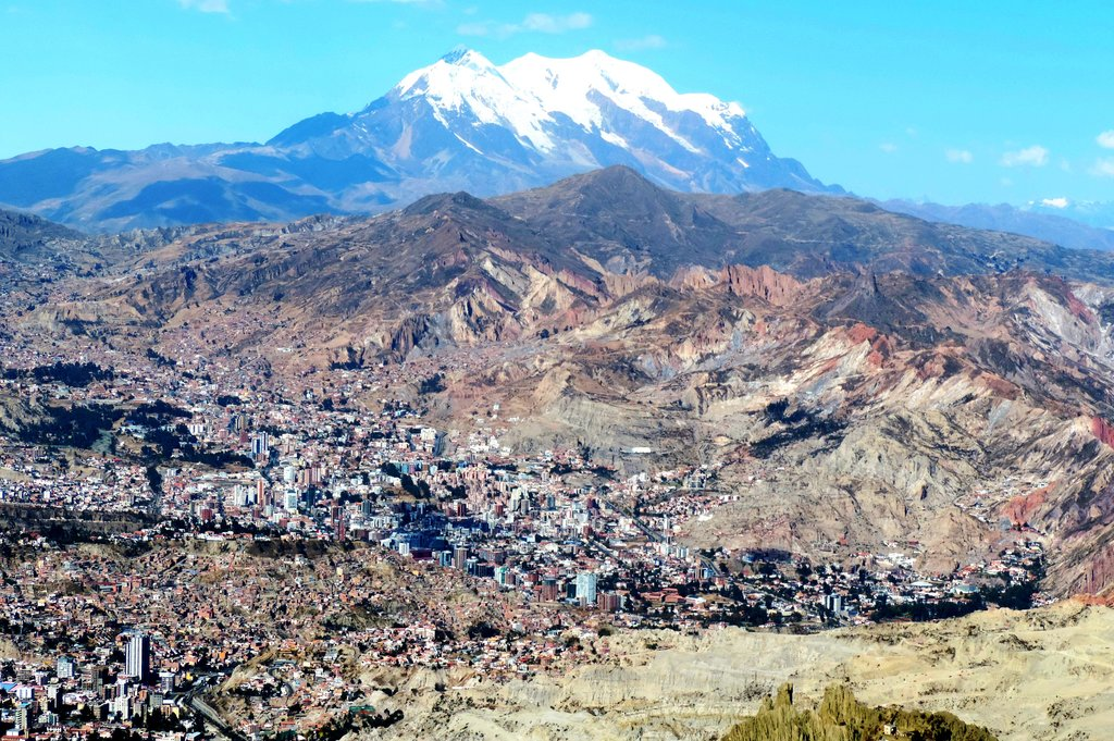 Illimani stands tall over La Paz.