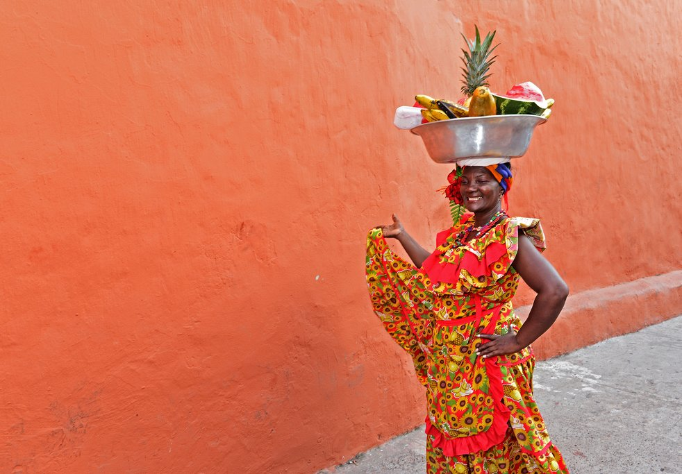 Palenquera woman sells fruit