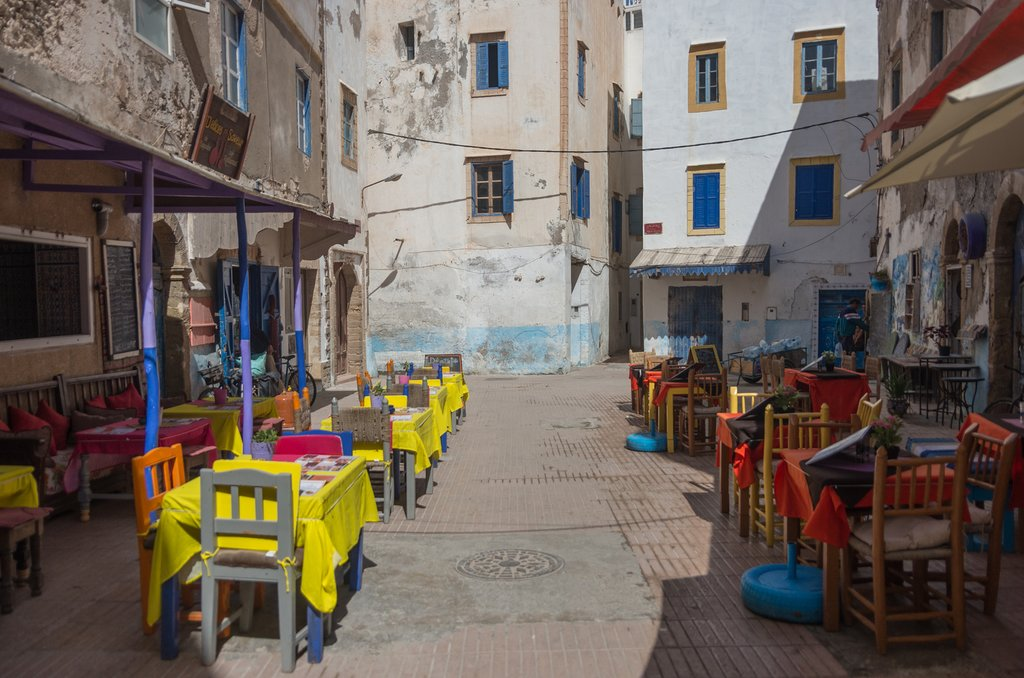 Street cafe in the old medina, Essaouira