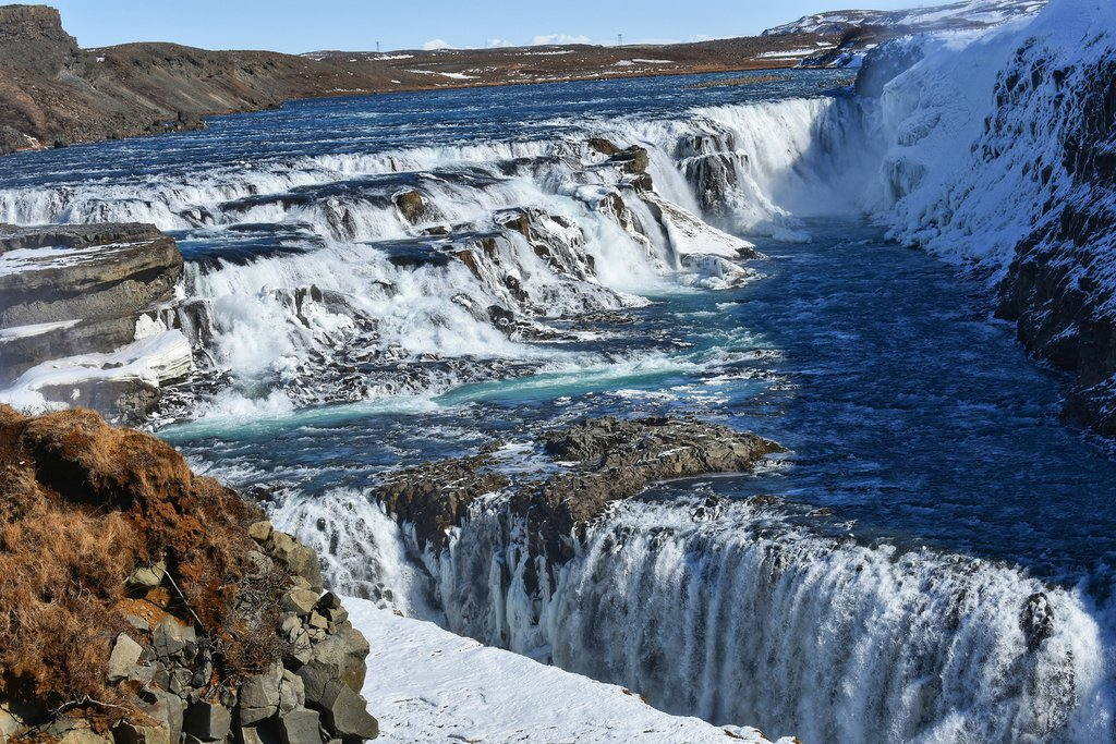 Frozen falls at Gullfoss