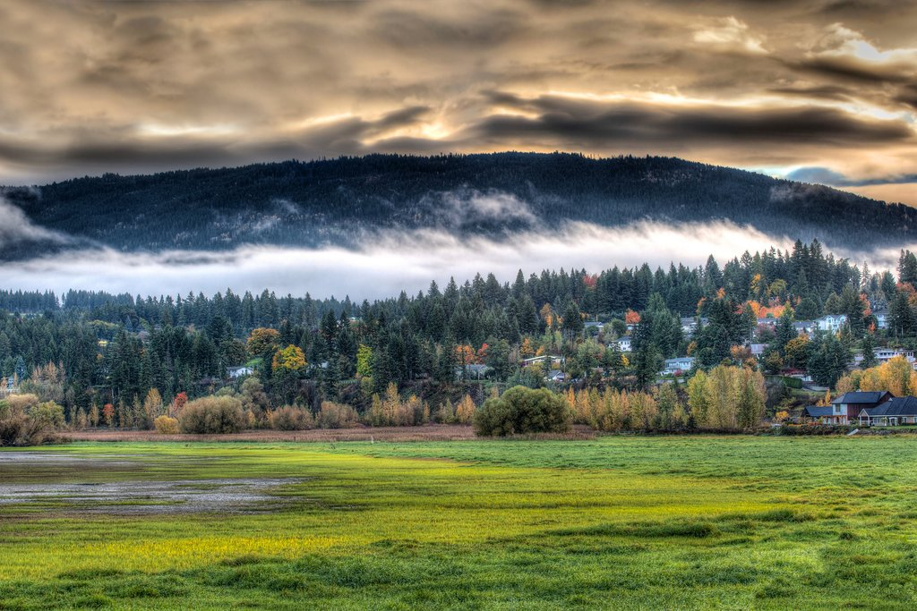 Autumn sunrise over Salmon Arm in Shuswap Country