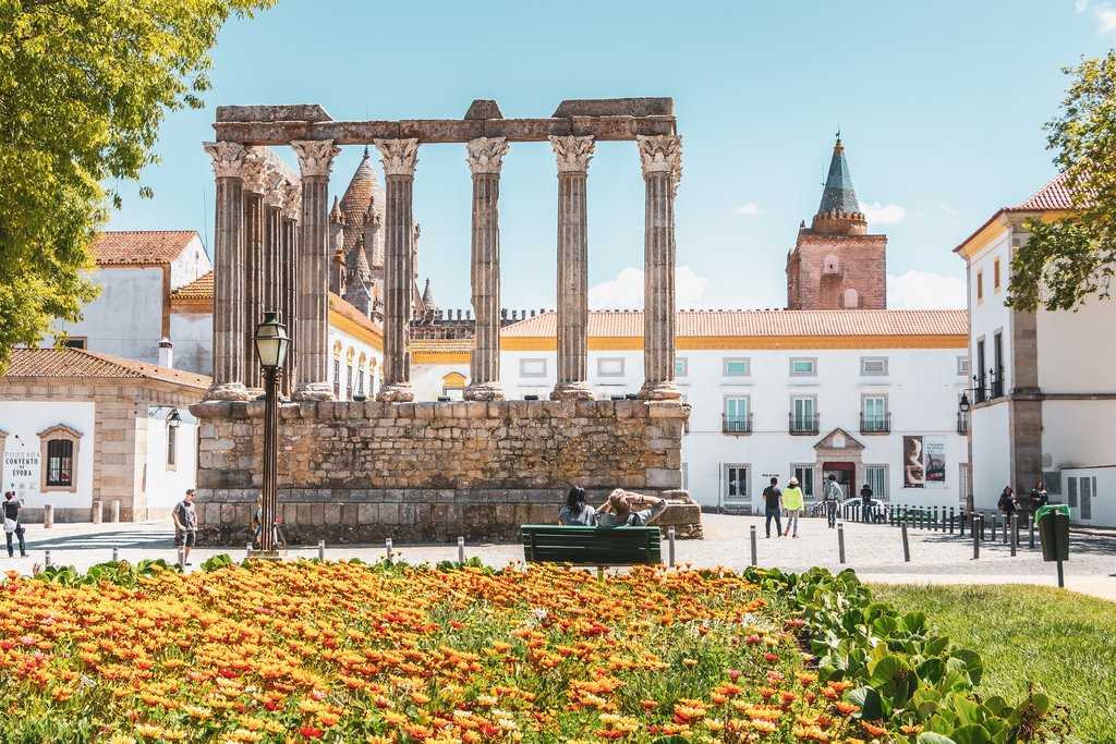 Roman temple of Evora in Portugal