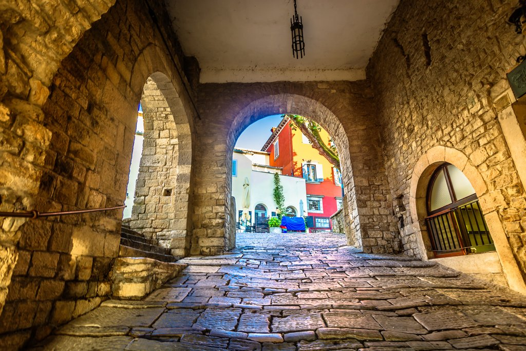 Old stone streets in Motovun