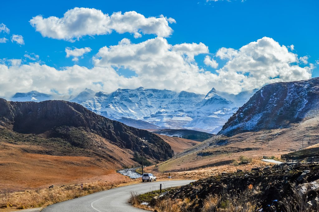 Snow-capped Drakensberg Mountains