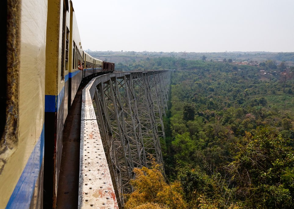 Train passing the famous viaduct Goteik between Pyin Oo Lwin and Hsipaw in Shan State, Myanmar