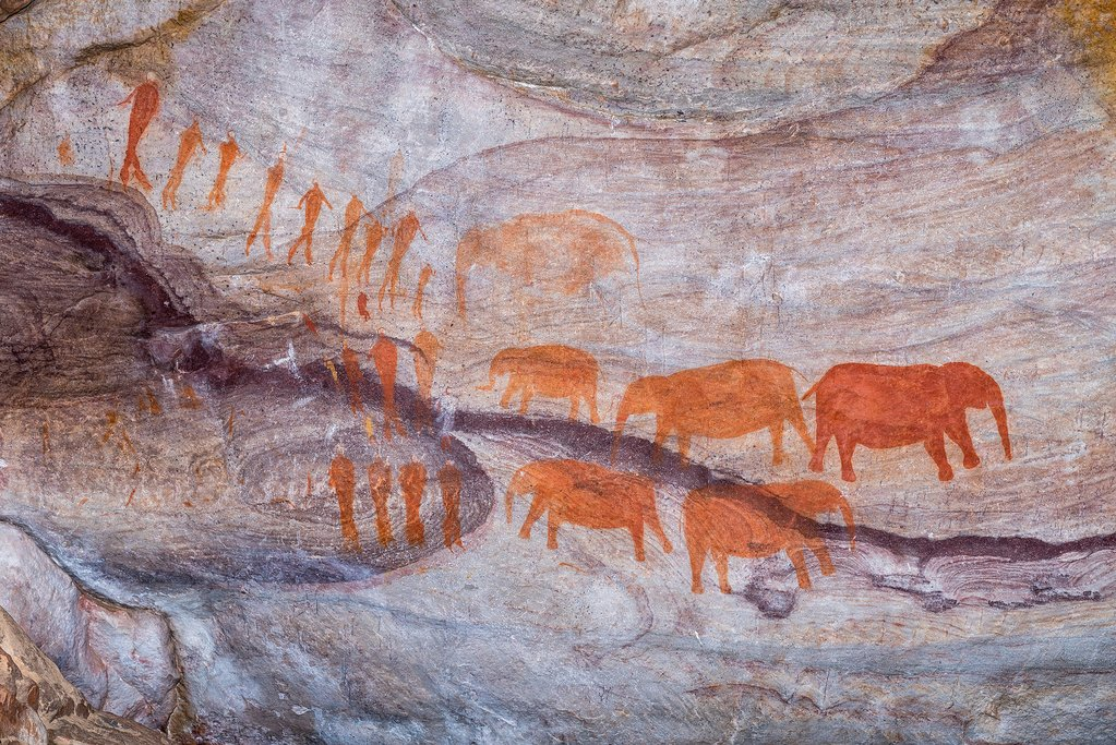 San rock art at the Stadsaal Caves
