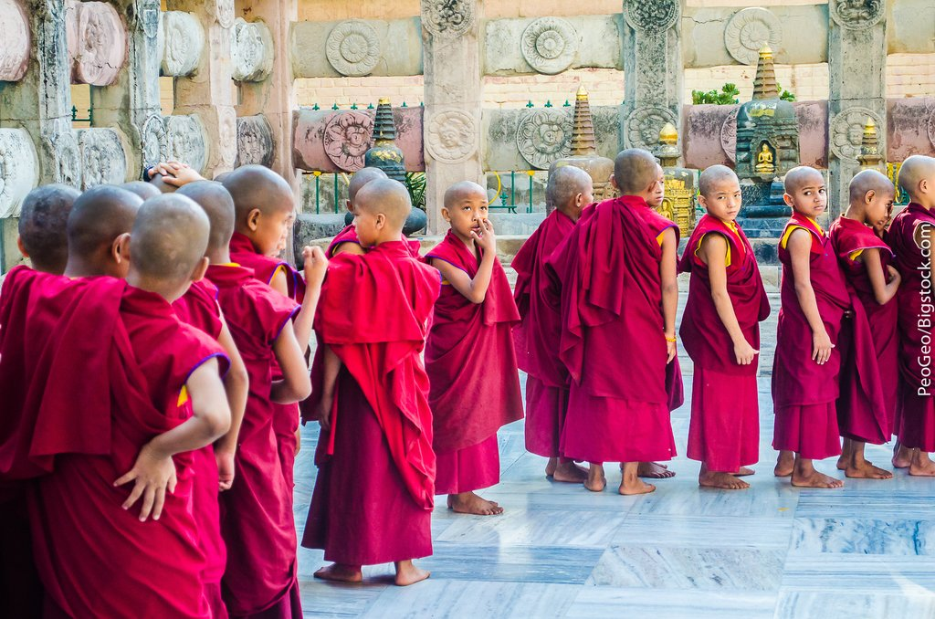 Young monks at the Mahabodhi Temple