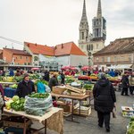 Dolac fruit and vegetable market in front of the Zagreb cathedral