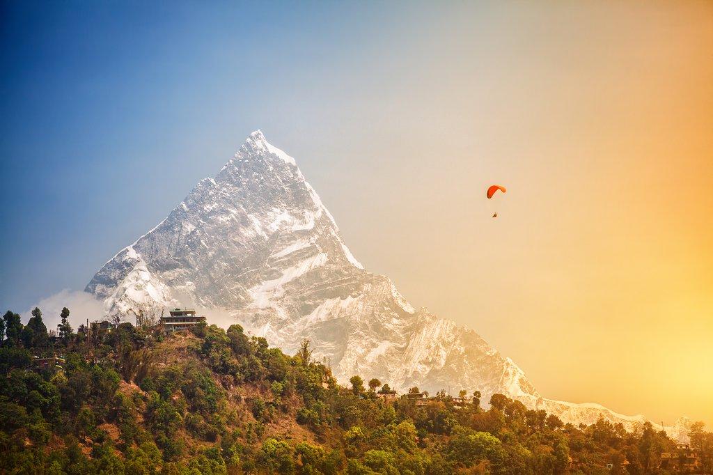 Paragliding near Machhapuchhre near Pokhara