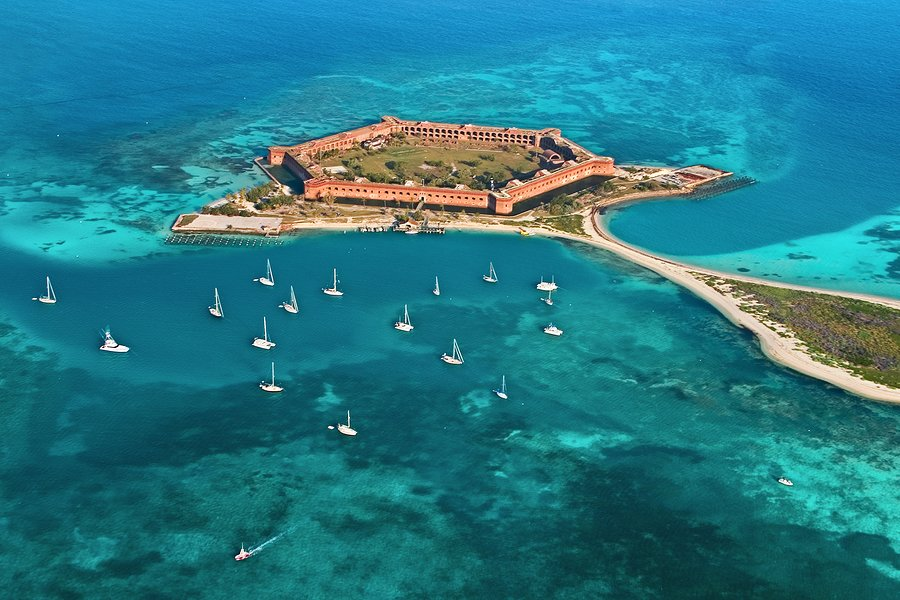 Aerial view of Fort Jefferson on Garden Key