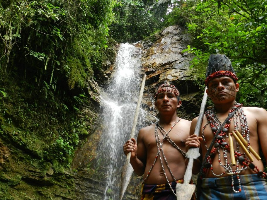 Waterfall ceremony in Shuar territory