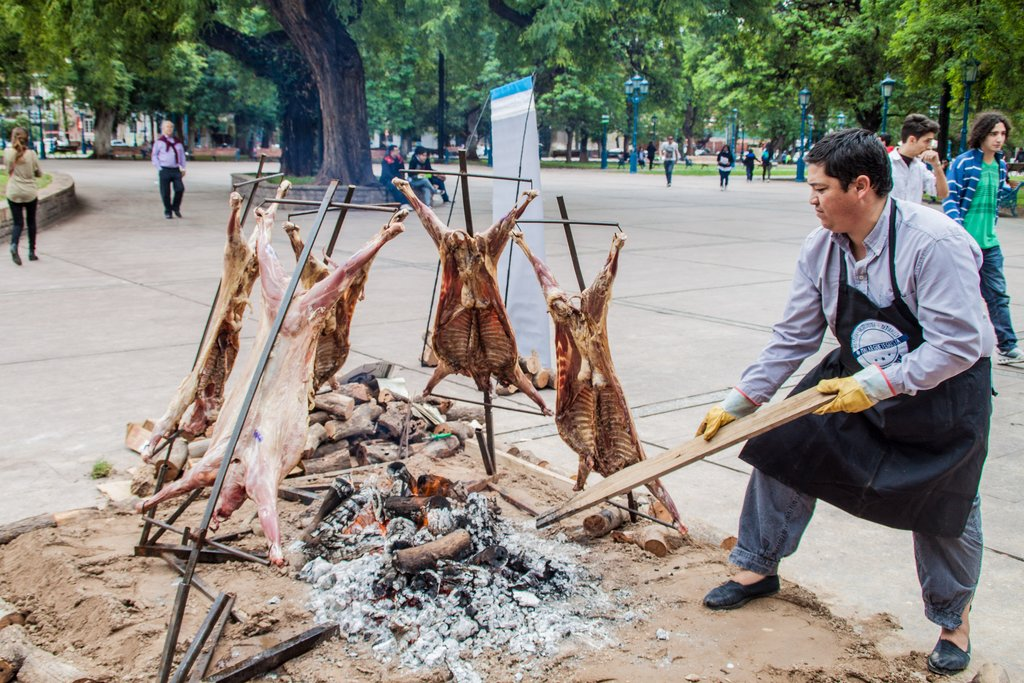 A typical lamb barbeque in downtown Mendoza