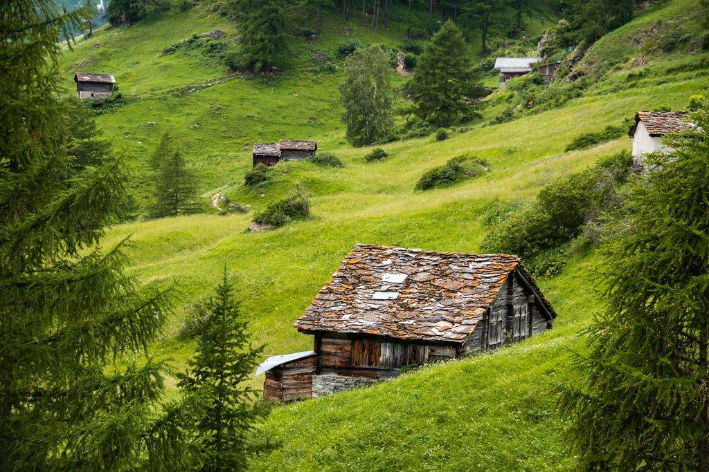 Old wooden barns in Zermatt valley