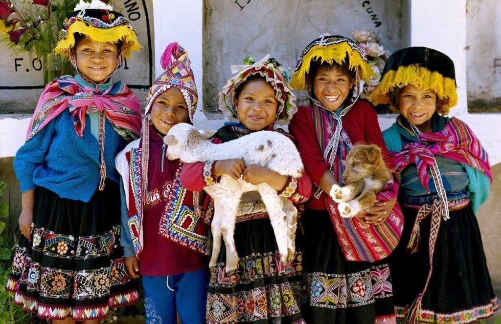 Peruvian children in typical Andean dress