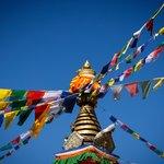 Prayer flags the the stupa