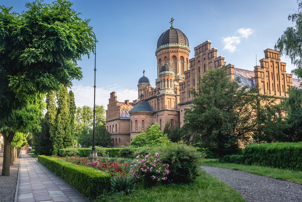 Three Saints Orthodox church in National University in Chernivtsi, Ukraine
