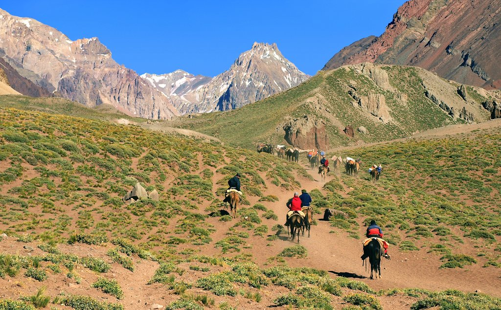 Horseback riding in the foothills of the Andes, Argentina
