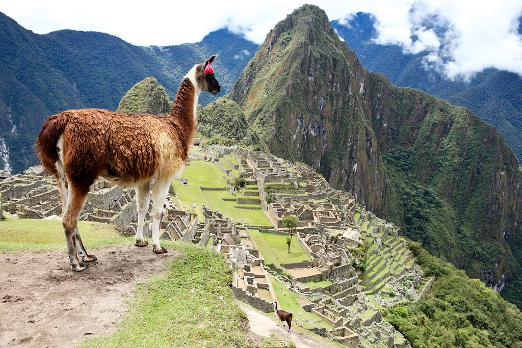 Looking down at Machu Picchu, the lost city of the Incas
