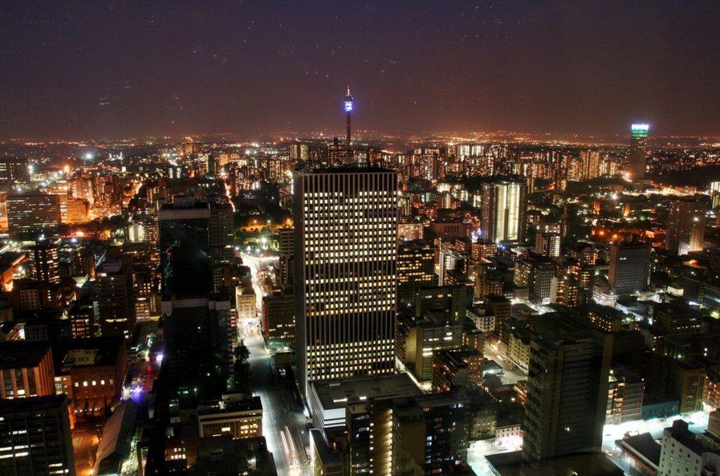 Johannesburg lighting up at night