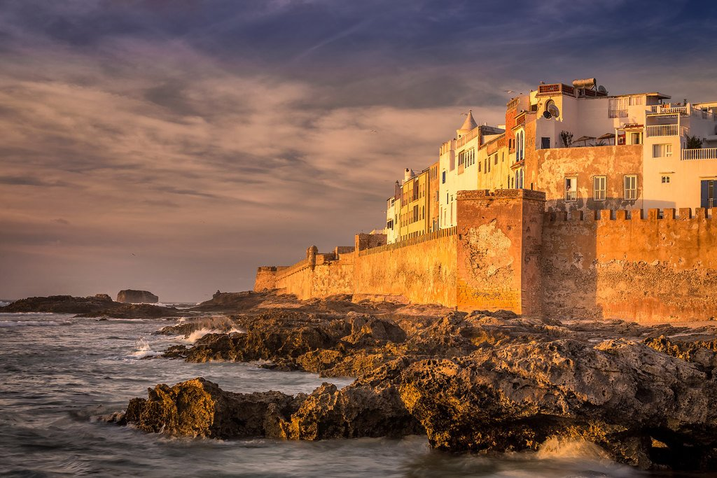 Seaside ramparts along the Atlantic Ocean in Essaouira