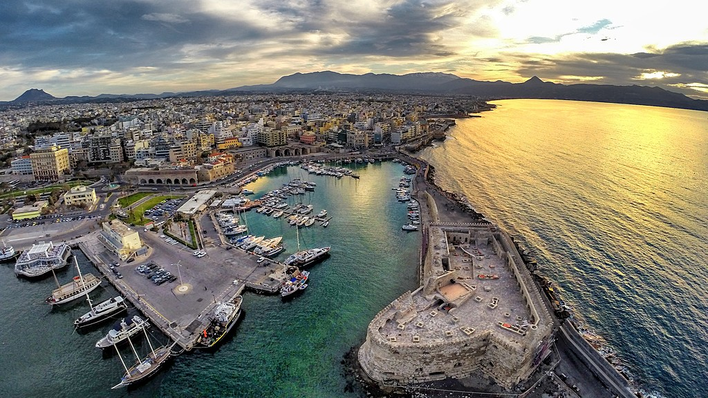 Heraklion harbor on the northern coast