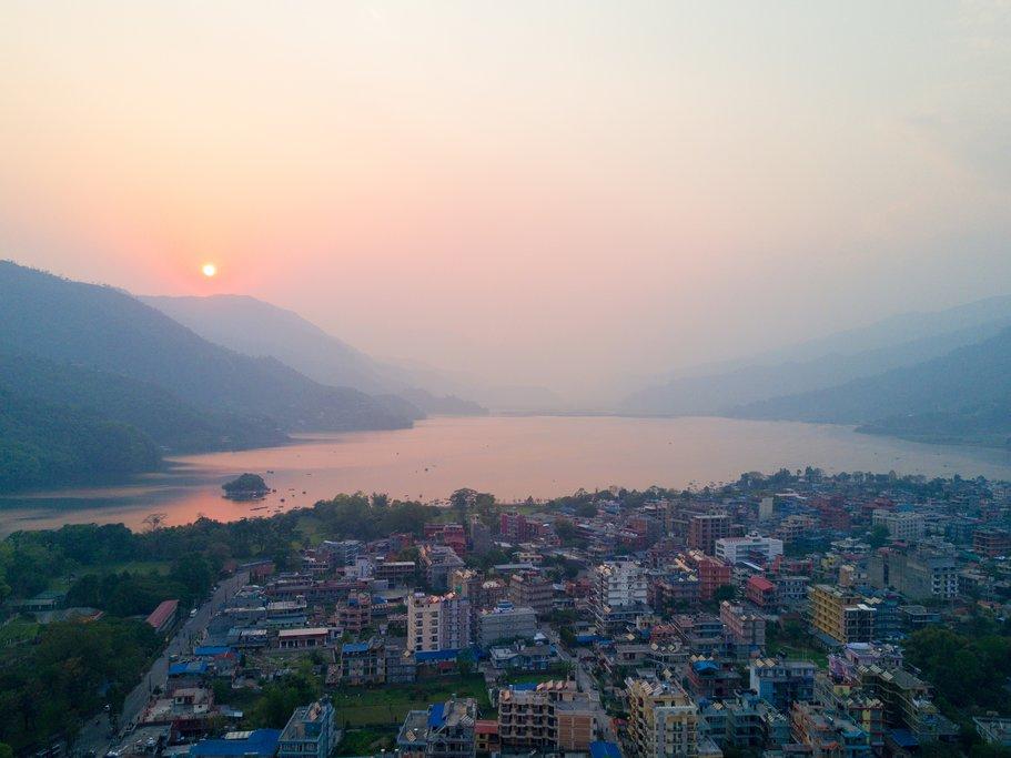 Pokhara and Phewa Lake at sunset