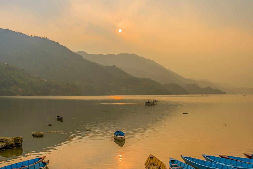 Sunset on Phewa Lake, Pokhara
