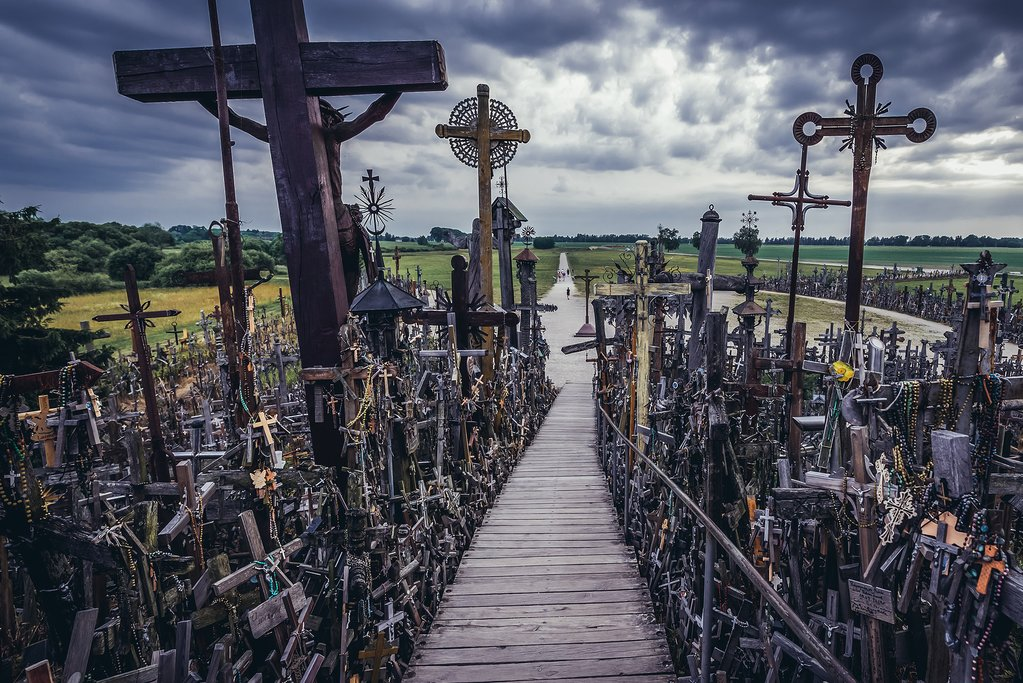 Walking through the Hill of Crosses