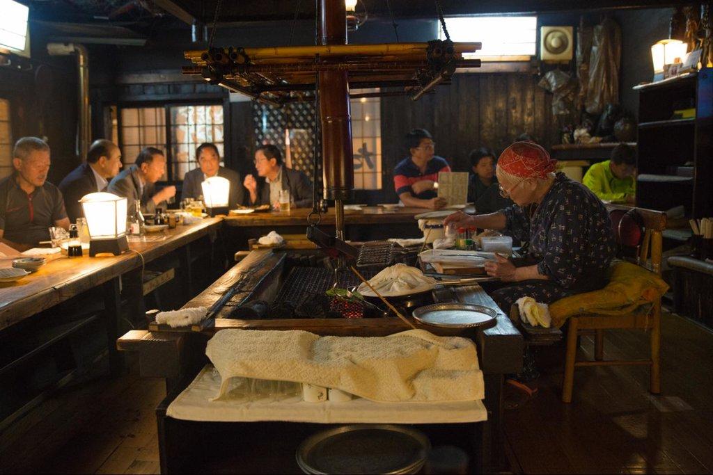 Robatayaki cuisine at a local Hokkaido restaurant.