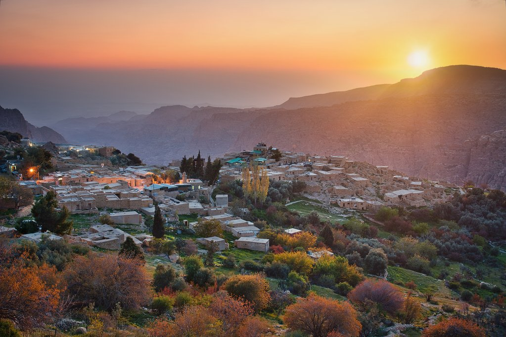 Jordan - Dana Village at sunset