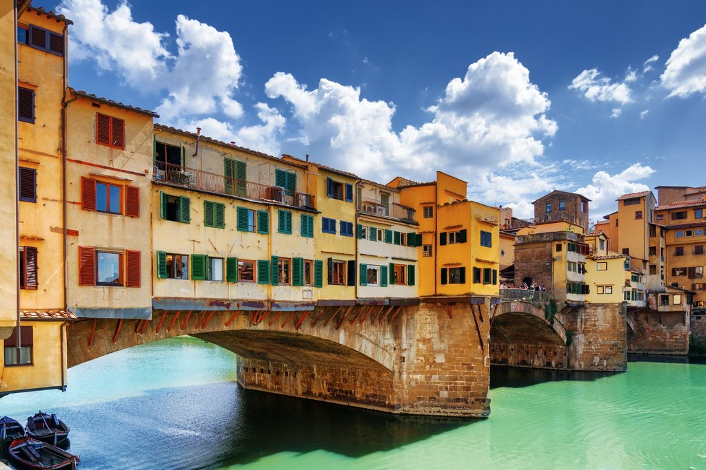 Medieval stone bridge Ponte Vecchio over the Arno River