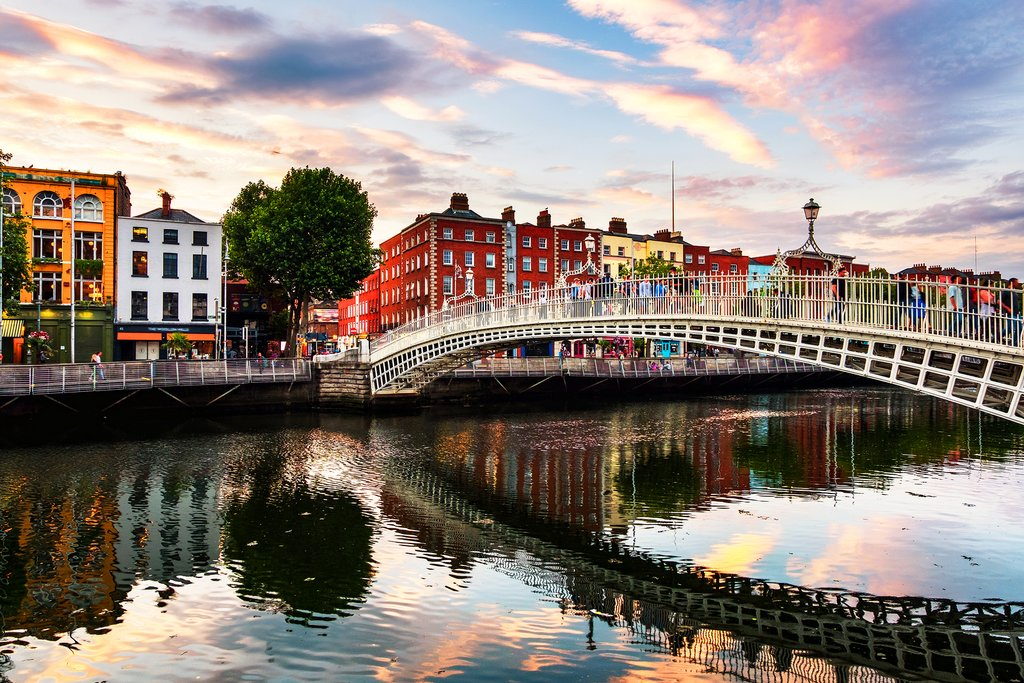 Dublin and the River Liffey at sunset.