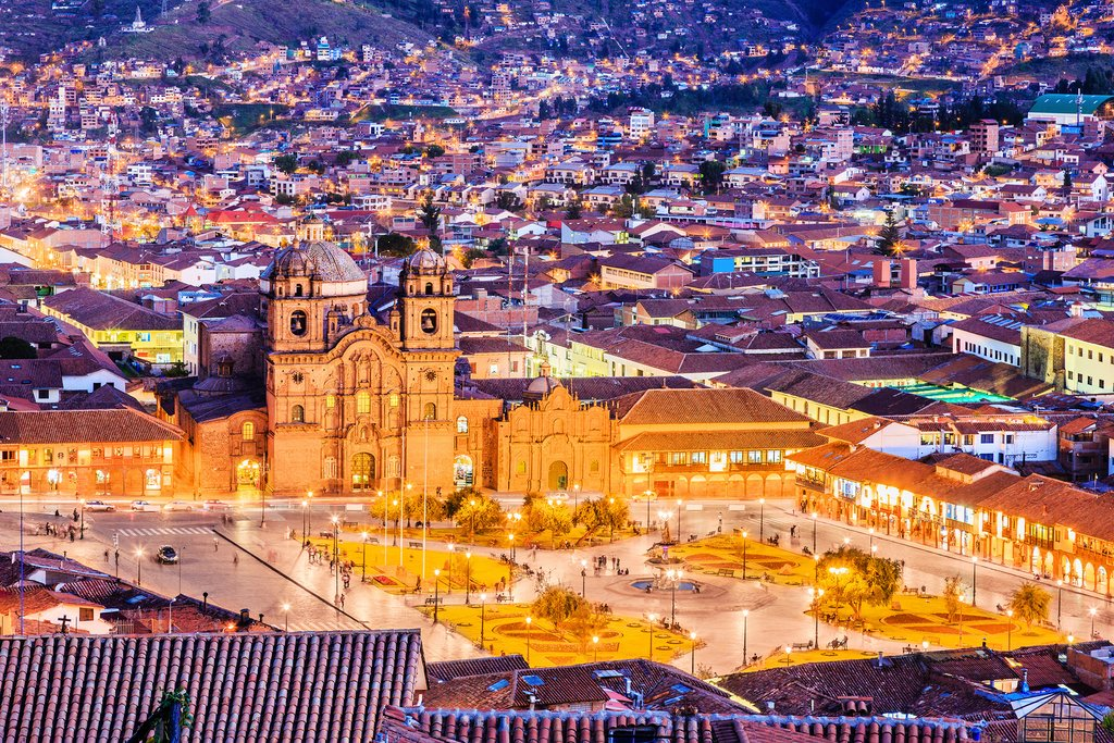 Evening view of Cusco's Plaza de Armas