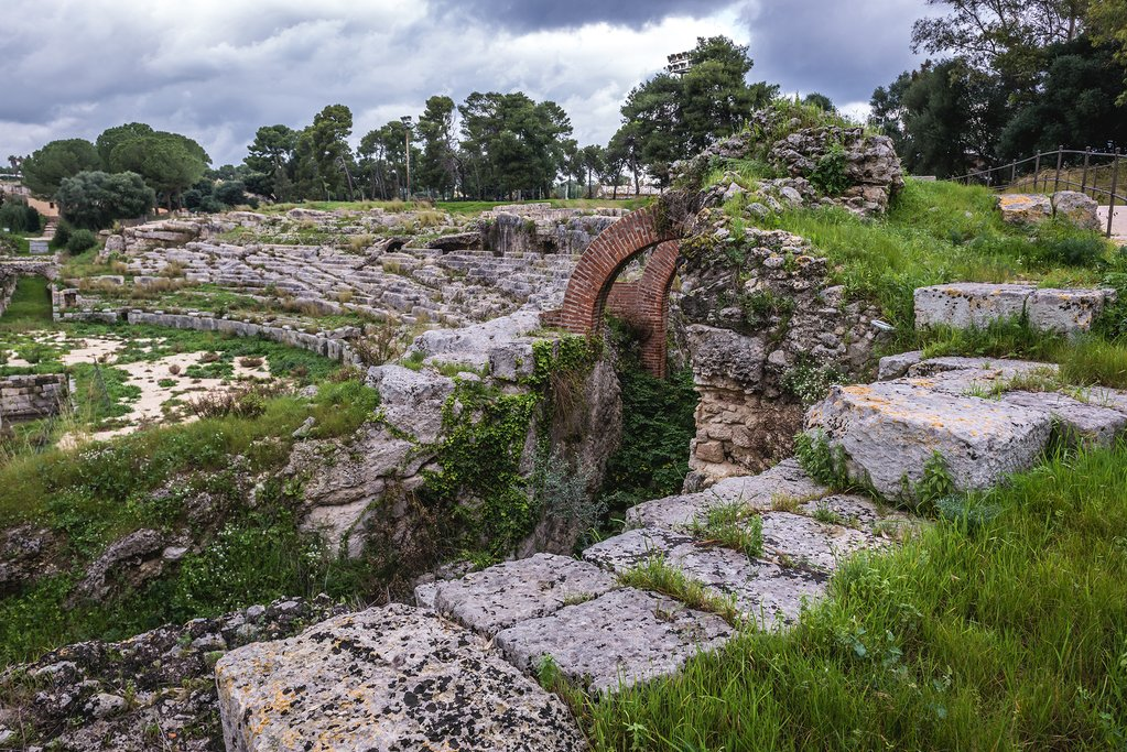 Italy - Sicily - Syracuse - 2nd century Roman Ampitheater in Neopolis Archaeological Park